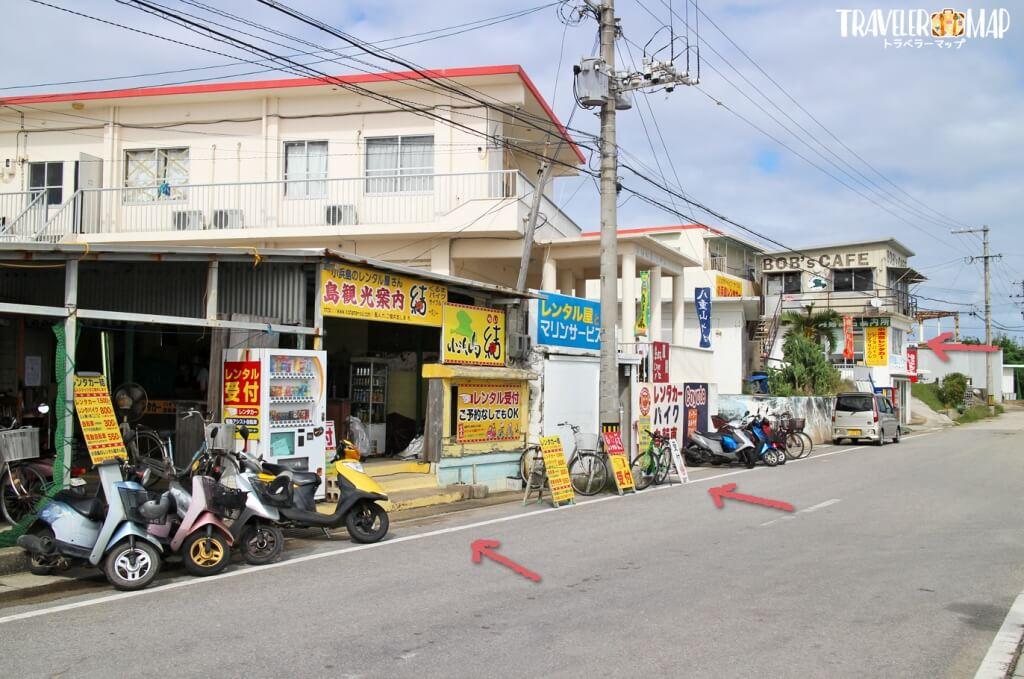 小浜島にあるレンタサイクルのお店